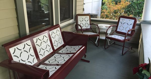Vintage Metal Gliders Old Fashioned Metal Chairs And Retro
