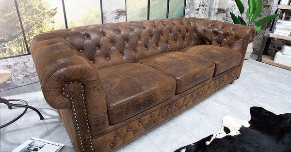 Chesterfield 3er Sofa 205cm Antik Braun Mit Knopfheftung Und Federkern 3er Sofa Chesterfield Sofa