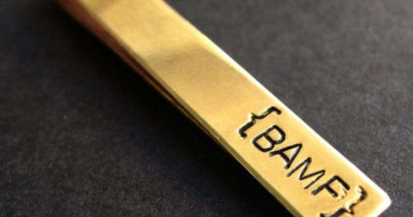 Tie Bar in brass- custom stamped -perfect groomsman gift -personalied tie clip