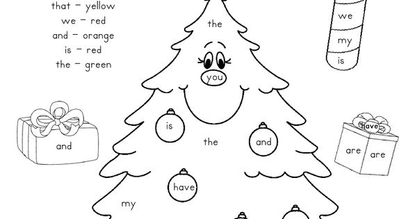 colour coding with sight words and a Xmas tree...