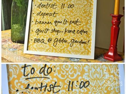 cute and easy diy white board;