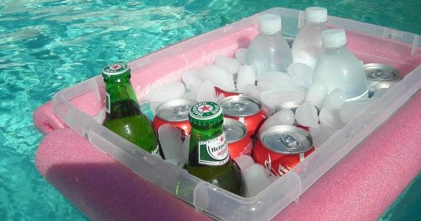 DIY Pool Cooler- cut a noodle and tie a rope through it,