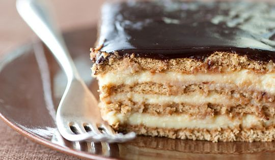 "NO-BAKE BOSTON CREAM PIE STRATA: ""An icebox cake composed of layers of"