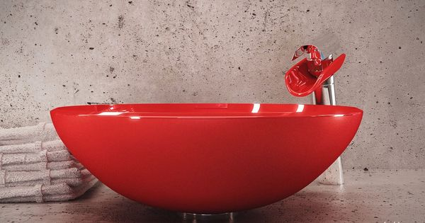 Modern bath with red vessel sink home-designing.com | For the Home |  Pinterest | Bathroom interior, Home design and Contemporary home design