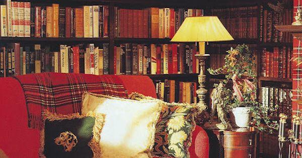 tartan library; cozy home library