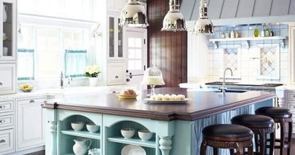 Tiffany blue kitchen island what a classy way to pop a for Tiffany blue kitchen ideas