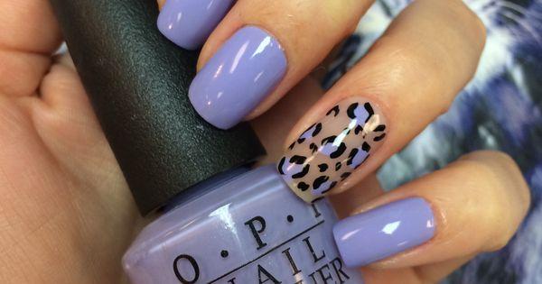 Lilac nail polish and animal print | NAILS | Pinterest ...