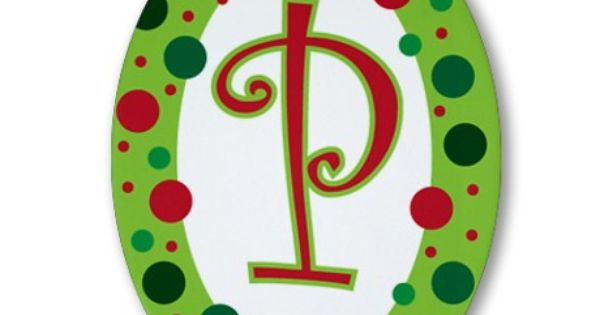 Monogram initial polka dot ornament oval
