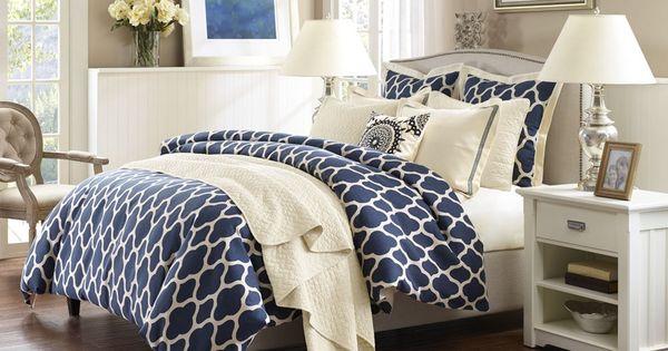 Strathmore navy blue comforter set king san benito for Dormitorio king