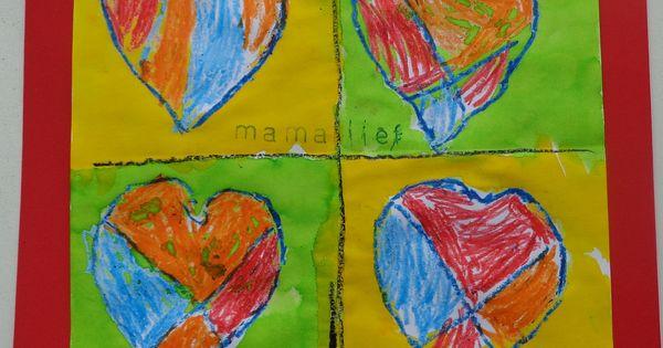 Kunstwerkje voor moederdag verf de buitenkant met ecoline de binnenkant van het hart kleur je - Ruimte van het meisje verf idee ...