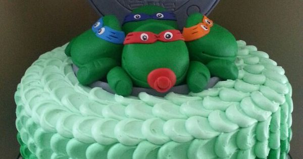 ninja turtle baby shower cake with ombre buttercream custom cakes