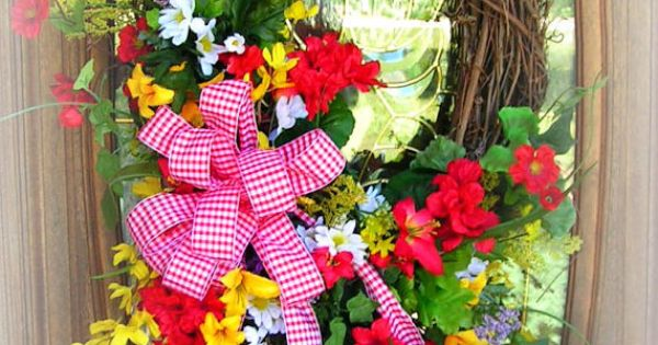Colorful summer wreath geraniums greenery red yellow for Colorful summer wreaths