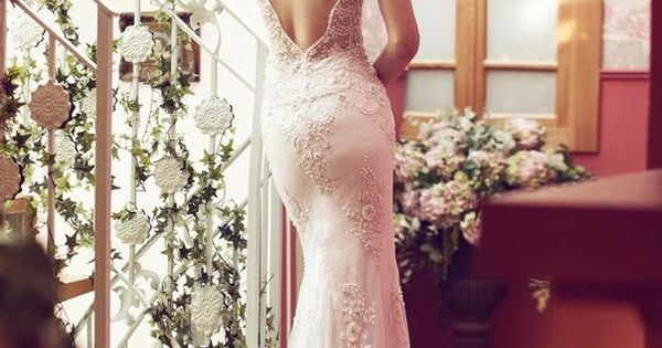 Wedding Dress, Bridal Gown, Open Back Deep Cut