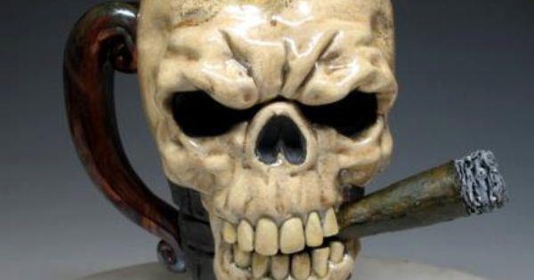 Skull smoking a blunt tattoo