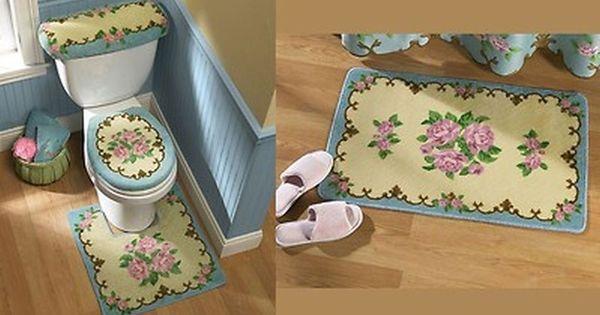 victorian blue pink rose design bathroom rug bath mat set decor bathroom ideas pinterest. Black Bedroom Furniture Sets. Home Design Ideas