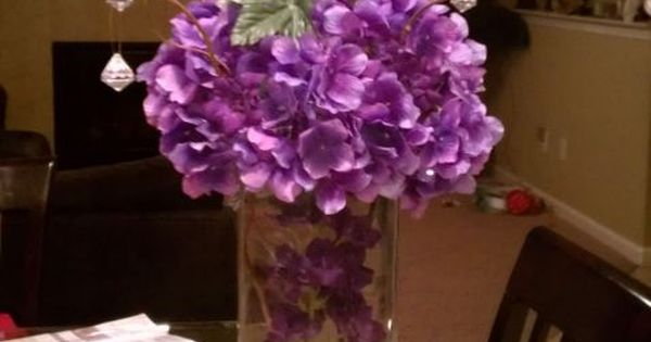 Hydrangea tall square centerpieces wedding