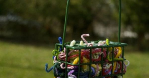 Attract Birds with Homemade Bird Nesting Materials - Yarn scraps in a
