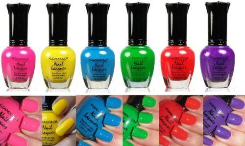 Kleancolor Nail Polish Neon Colors Lot Of 6 Lacquer Neon