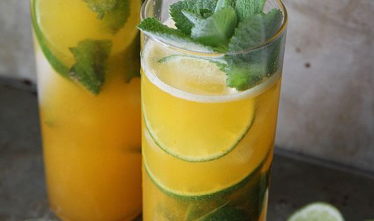 Apricot and Lime Mojito - Apricot Puree (Recipe), Mint Leaves, Lime, White