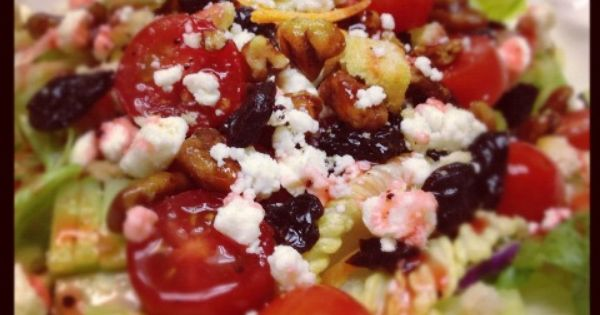 Glazed Pecan, Dried Cherry, and Feta Cheese Salad With Raspberry ...