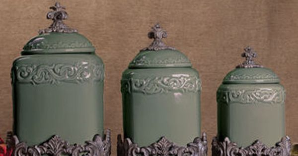 Set of 3 sage green fleur de lis kitchen canister set for Drake designs kitchen