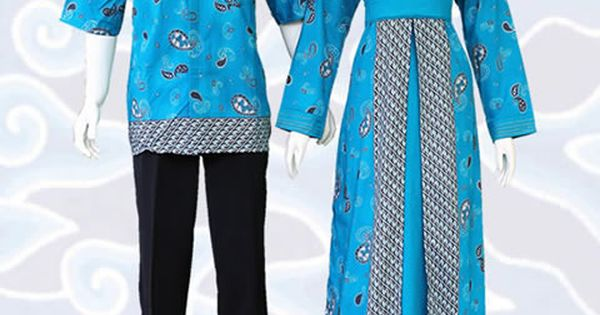 Gamis Batik Sarimbit Modern Warna Biru Kode Sgb56 Di