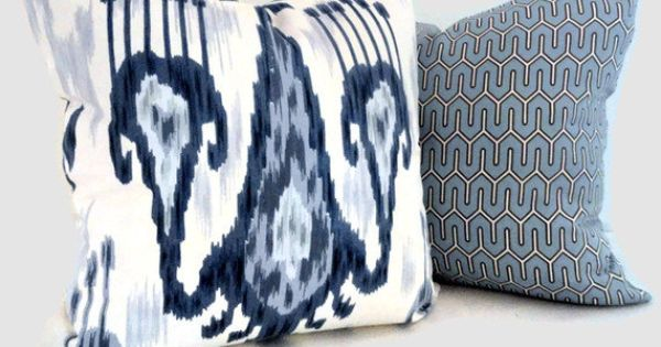 Wedgewood Blue Throw Pillows : Wedgewood Blue and White Ikat, Robert Allen Decorative Pillow Cover LUMBAR pillow - Accent ...
