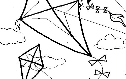 Kites In The Wind To Color Kite Coloring Pages