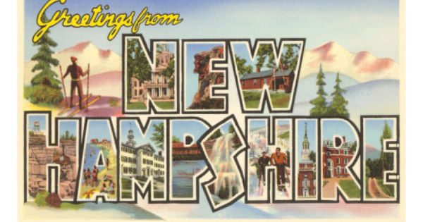 Greetings From New Hampshire Art Postcard New Hampshire