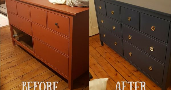 Ikea Hack Large Red Hemnes Chest Of Drawers Up Cycled To A Dark