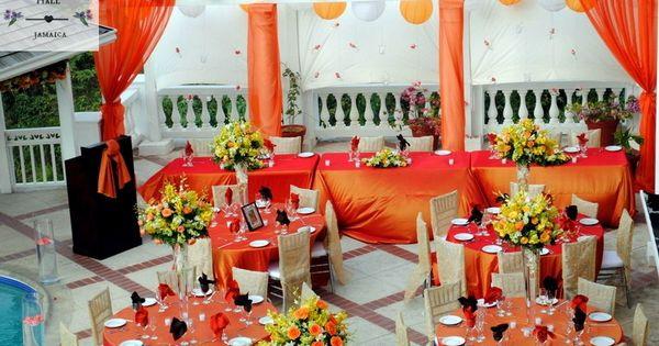 Tropical paradise themed burnt orange Jamaica destination