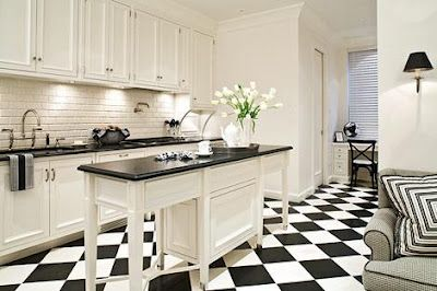 The Black And White Checkered Floor Black Kitchen Decor White Kitchen Decor White Tile Kitchen Floor