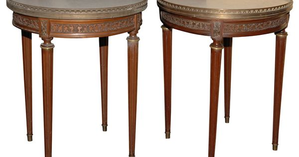 Pair Of Louis XVI Style Gueridon Tables Marble Top