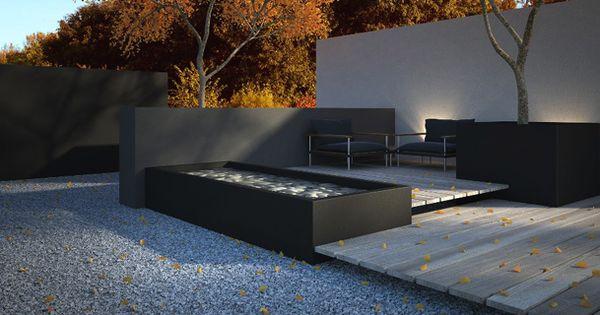 Platoflex muren plantenbak en waterbak in donkere kleuren platoflex muren pinterest - Moderne landschapsarchitectuur ...