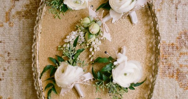 Boutonnieres by Mindy Rice. Romantic San Ysidro Wedding by Elizabeth Messina as seen in Magnolia Rouge Magazine Issue 1 #romanticwedding #classicwedding #boutonnieres www.magnoliarougemagazine.com