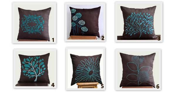 Turquoise Decorative Pillow Set : Brown Teal Turquoise Throw Pillow Covers, Set of 2 Pillow Covers 18 x 18, TurquoiseTeal Flower ...
