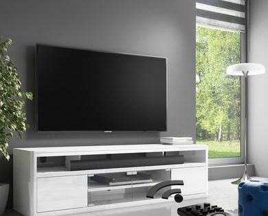 Neo White High Gloss Media Tv Unit Stand With Soundbar Shelf High Gloss Tv Unit White Tv Unit Tv Unit