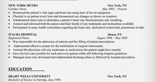 cardiac  nurse resume sample  resumecompanion com
