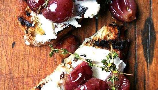 roasted grapes with thyme and ricotta.