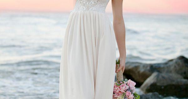 Robe de mariée bohème romantique perles Sequin longue bustier ...