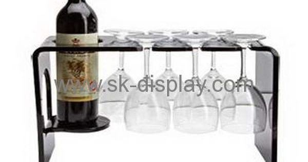 Black Acrylic Display Holders For One Wine Bottle And Six Glass Cups Wd 036 Wine Glass Shelf Acrylic Display Wine Display