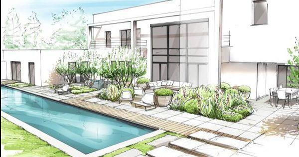 Piscine architecture d 39 int rieur pinterest piscines croquis et dessin architecture - Dessin de maison moderne ...