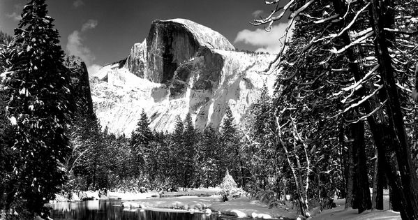 Half Dome, Merced River, Winter AnselAdams