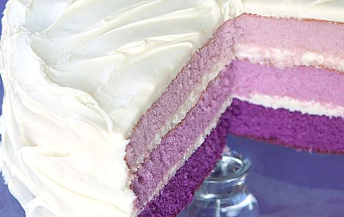 Purple Layer Cake - Moist White Cake mixes, batter mixed up as