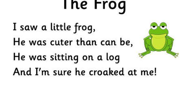 Pin By Giselle Manson On Preschool Fun Frog Poem Kids Poems Short Poems For Kids