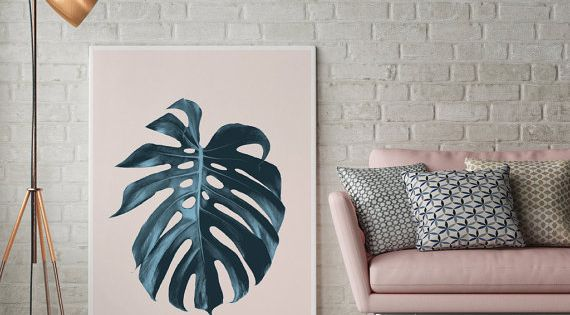 Impression feuille monstera botanique imprimer for Decoration murale nordique