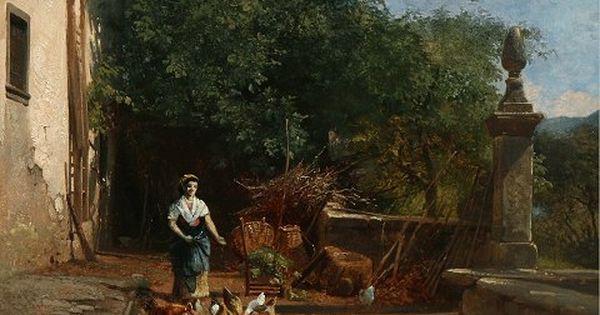 Italienerinde Fodrer Hons Olie Maleri Pa Laerred Kunstner Frederik Rohde 1816 1886 Ar 1860 Mal 29x39 Med Billeder Maling Malerier Kunst