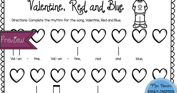 valentine rhythm and melody worksheets valentines red and blue and note. Black Bedroom Furniture Sets. Home Design Ideas