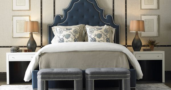 Everything In This Room Works From The Studded Walls To Blue Headboard To Tufted Stools At The