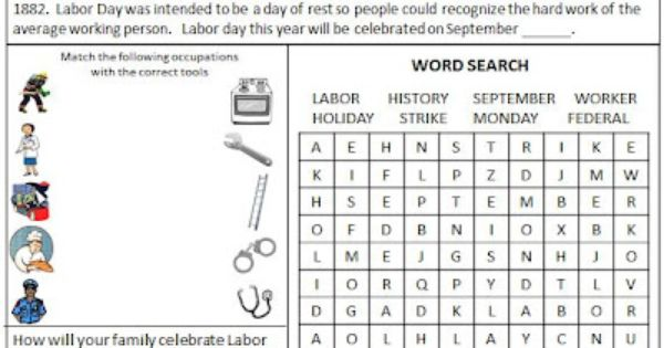 Worksheet Labor Day Worksheets 1000 images about activities for labor day on pinterest activity worksheet free
